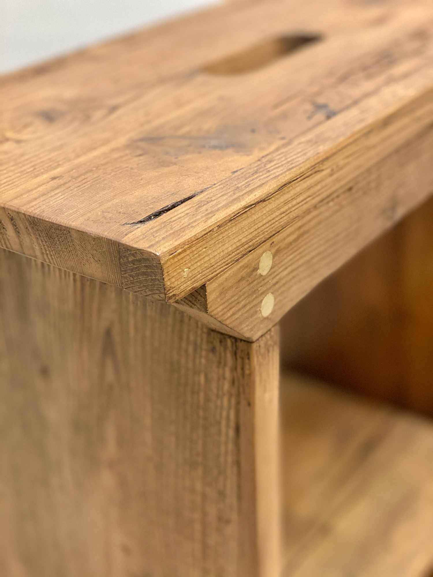 Edge detail of reclaimed pine stool