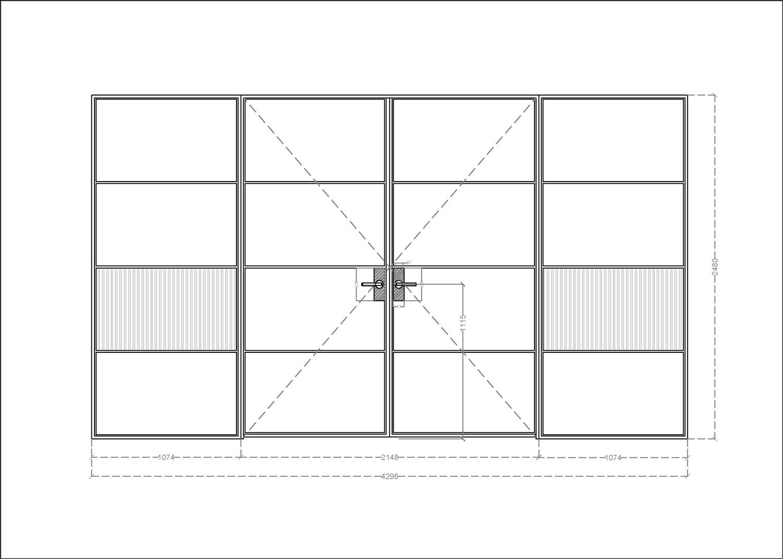Technical drawing of bespoke steel doors