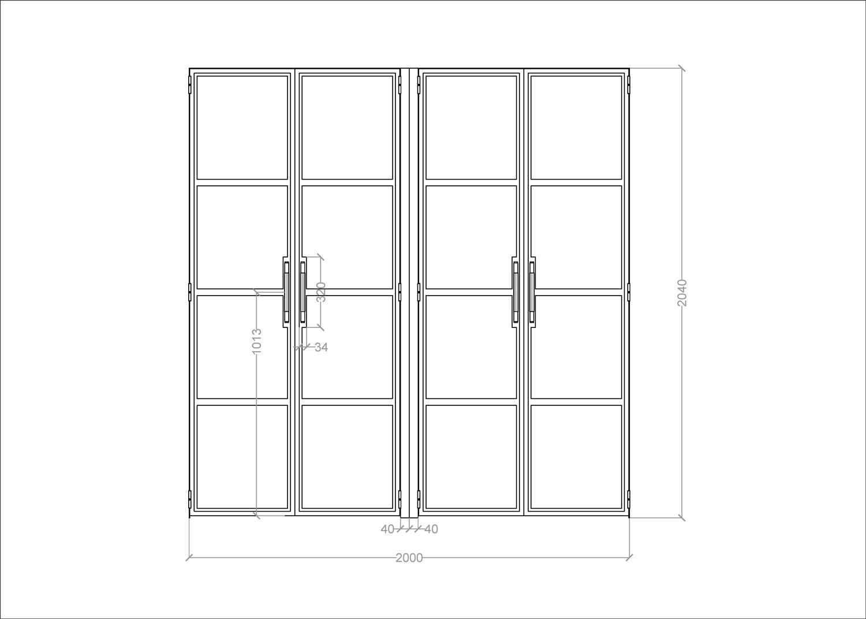 Front elevation of bespoke steel doors for London showroom