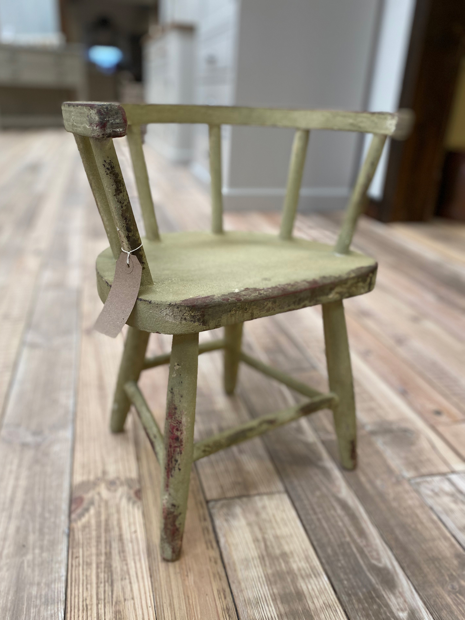 Rustic green crackled toddlers chair with curved back