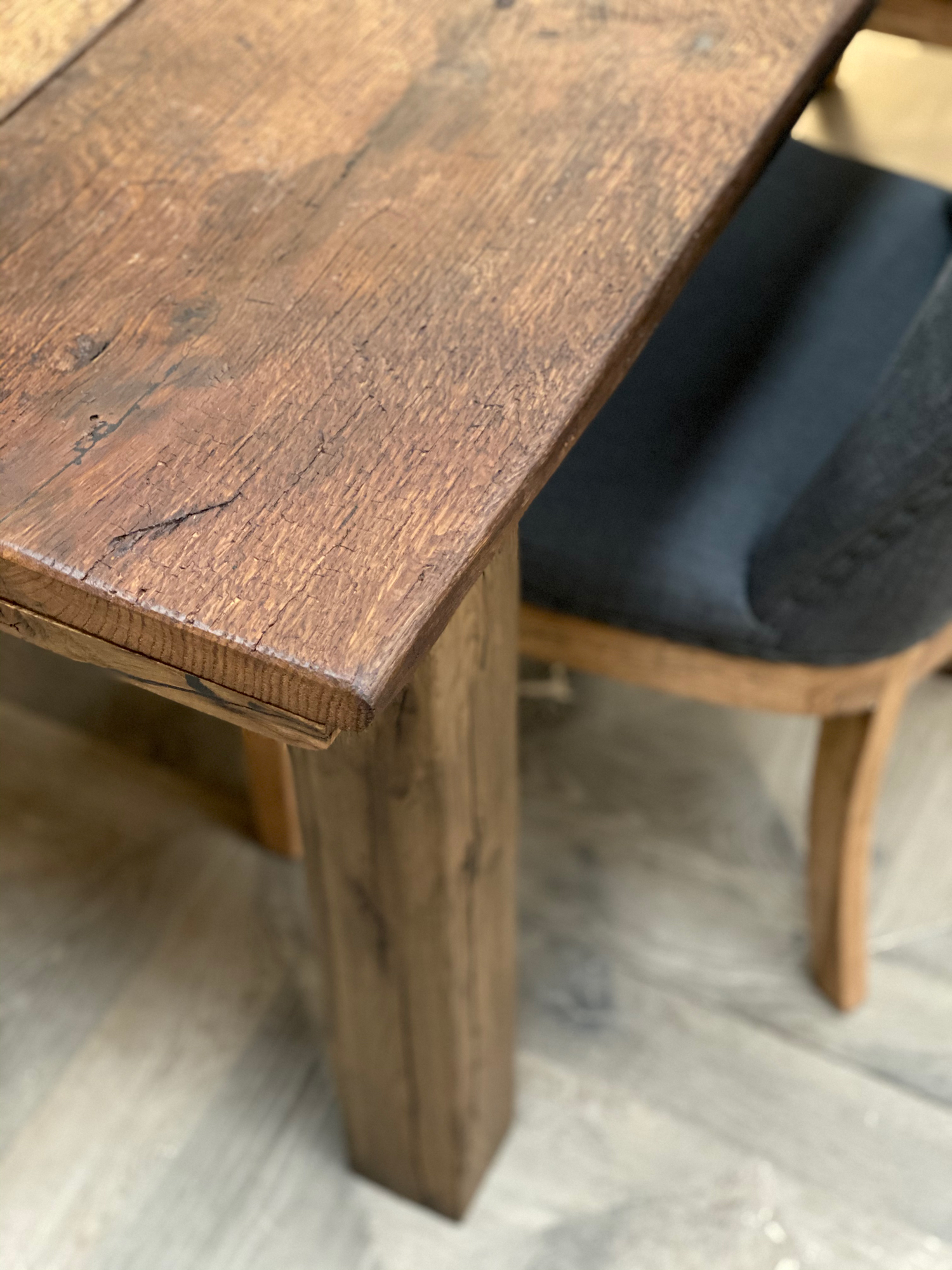 Solid reclaimed oak dining table top