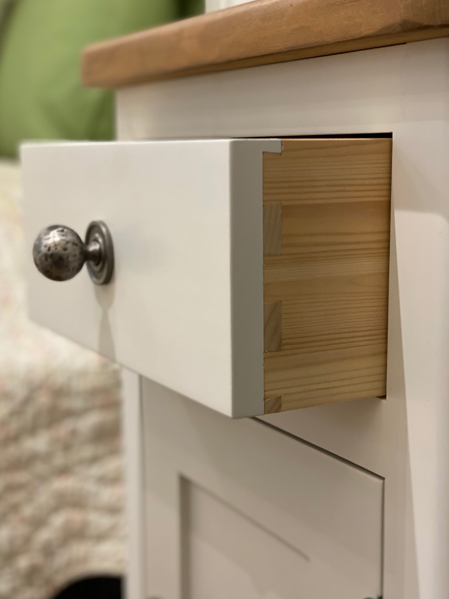 Pine drawer dovetail detail on bedside table