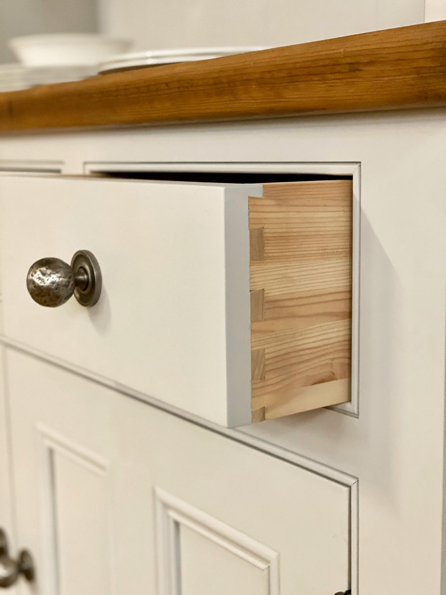Dovetail detail on painted irish dresser drawer