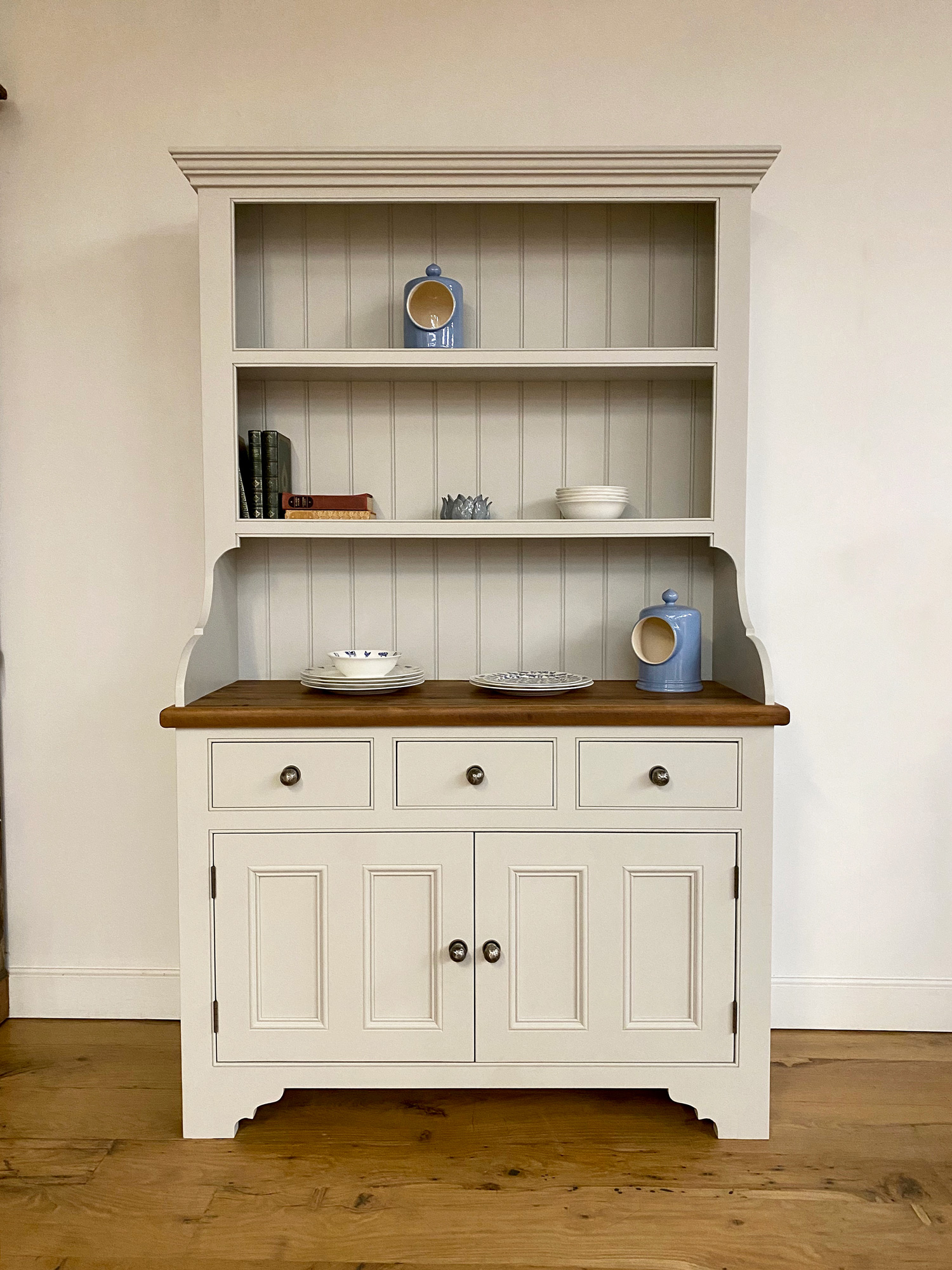 Painted Irish dresser with waxed worktop