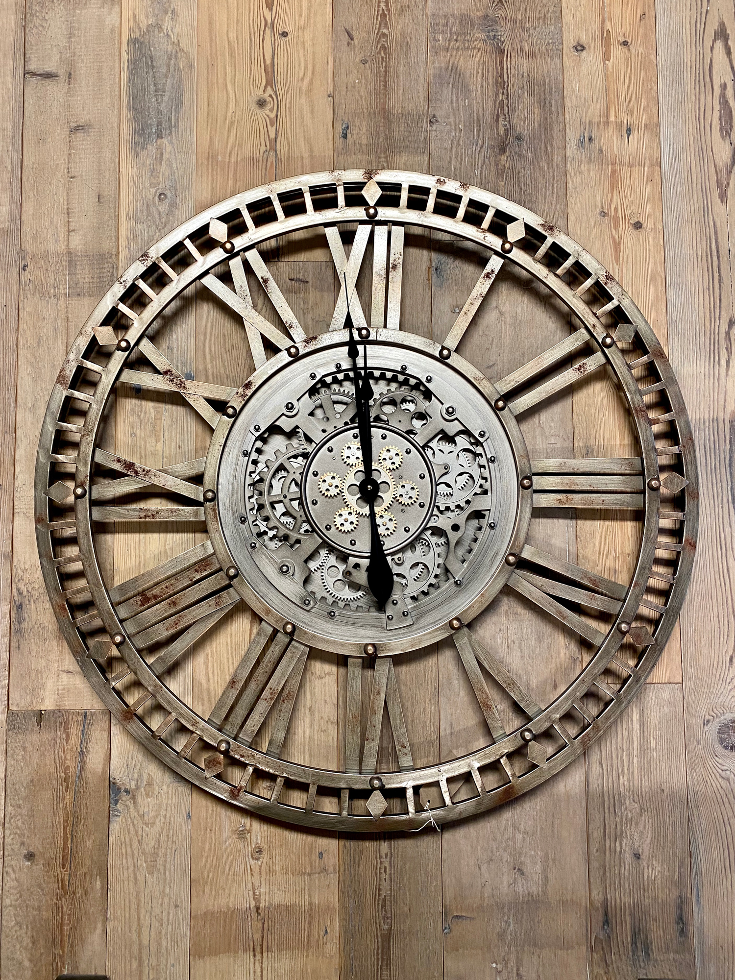 Skeleton clock on reclaimed timber