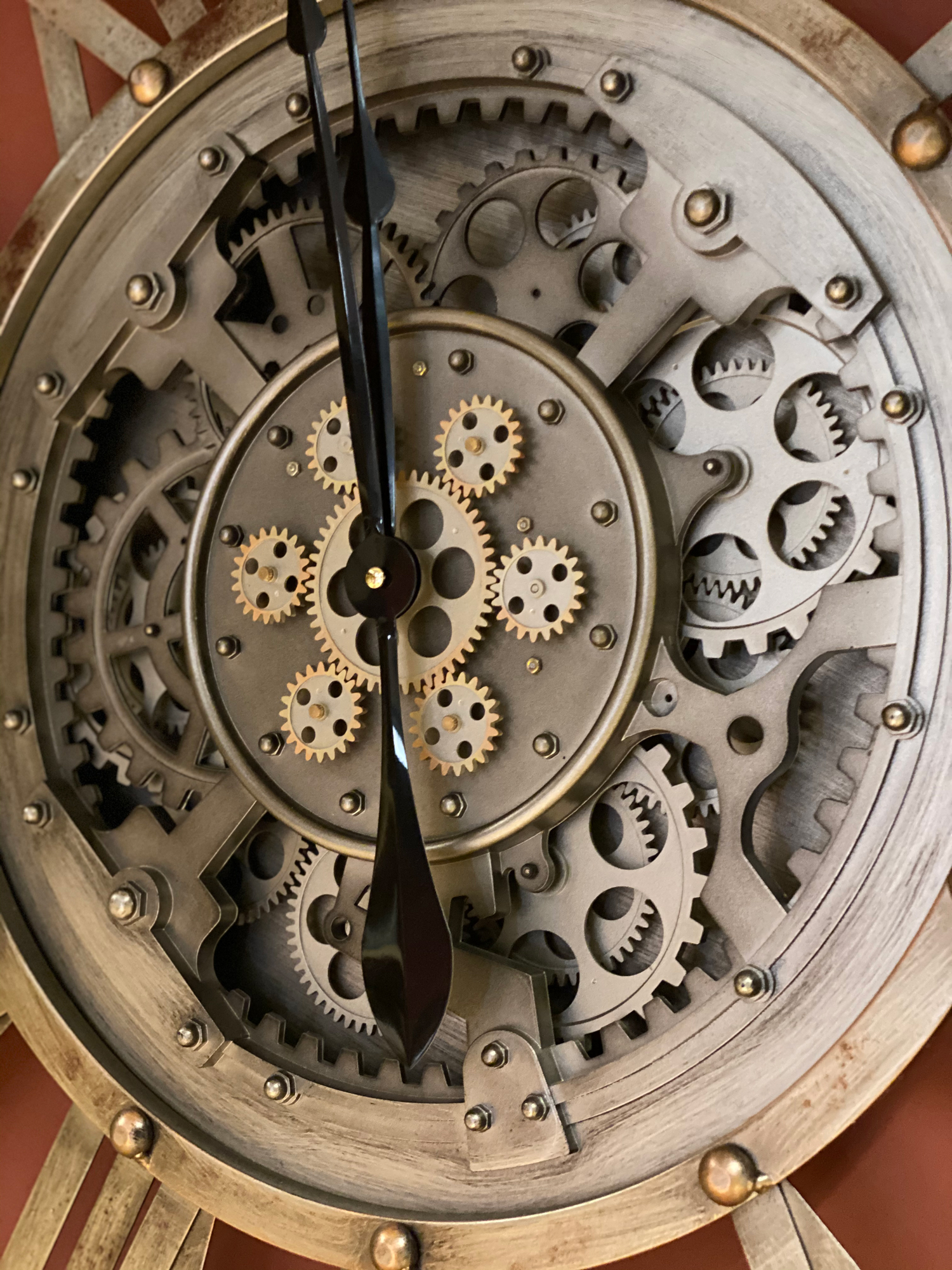 Skeleton clock with gears exposed