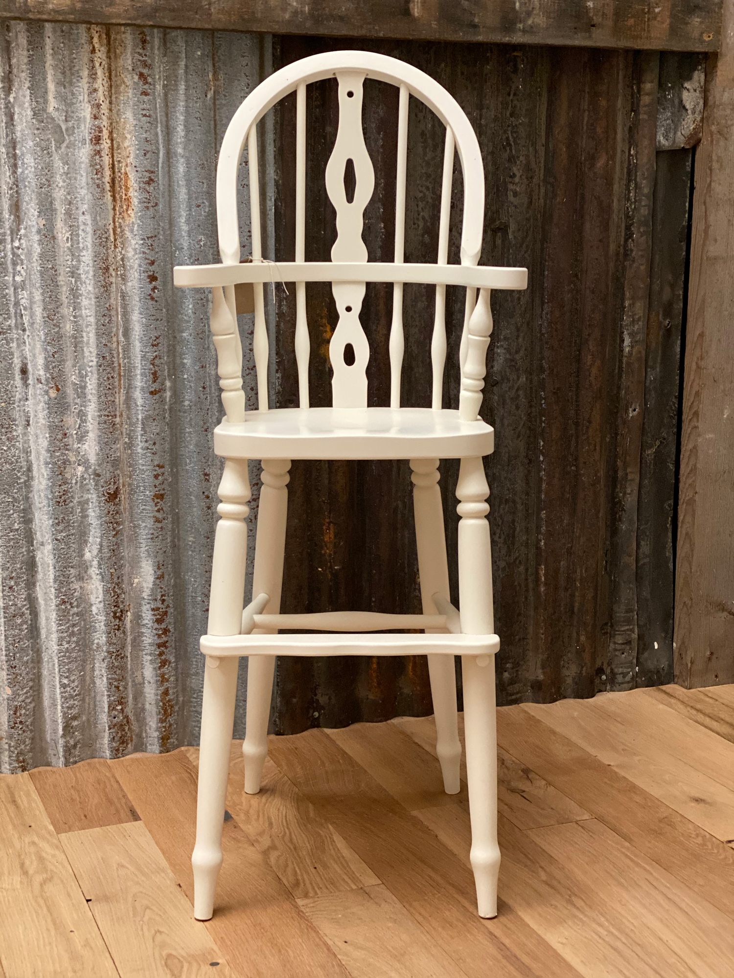 childs windsor high chair painted white