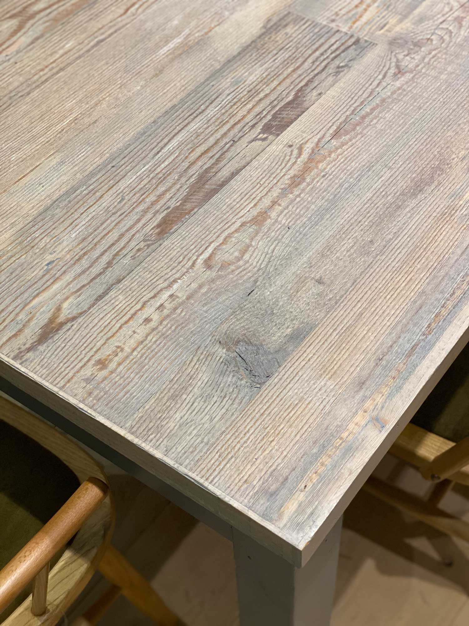 Textured reclaimed whitewash table top