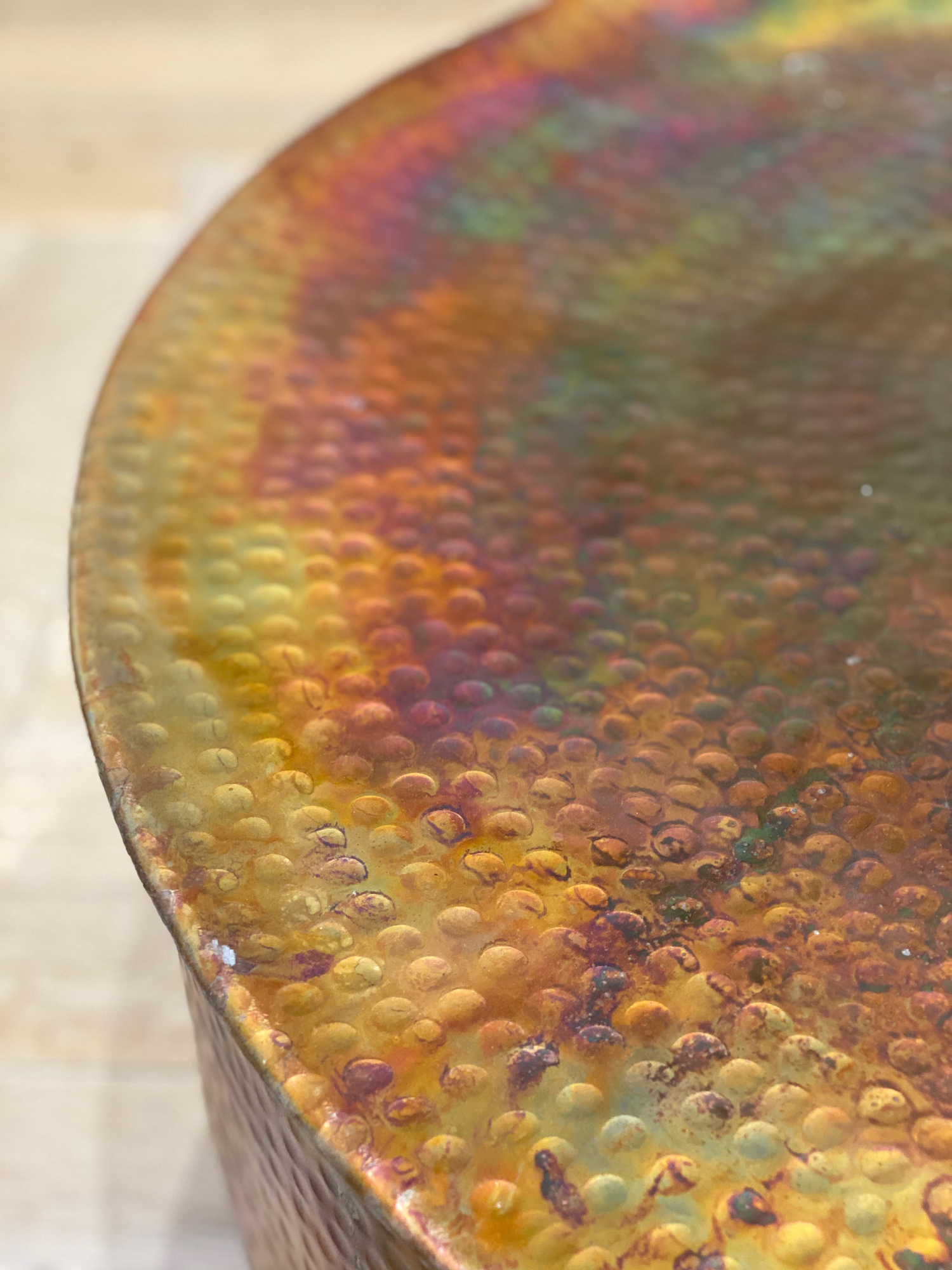 Close up detail of hammered copper