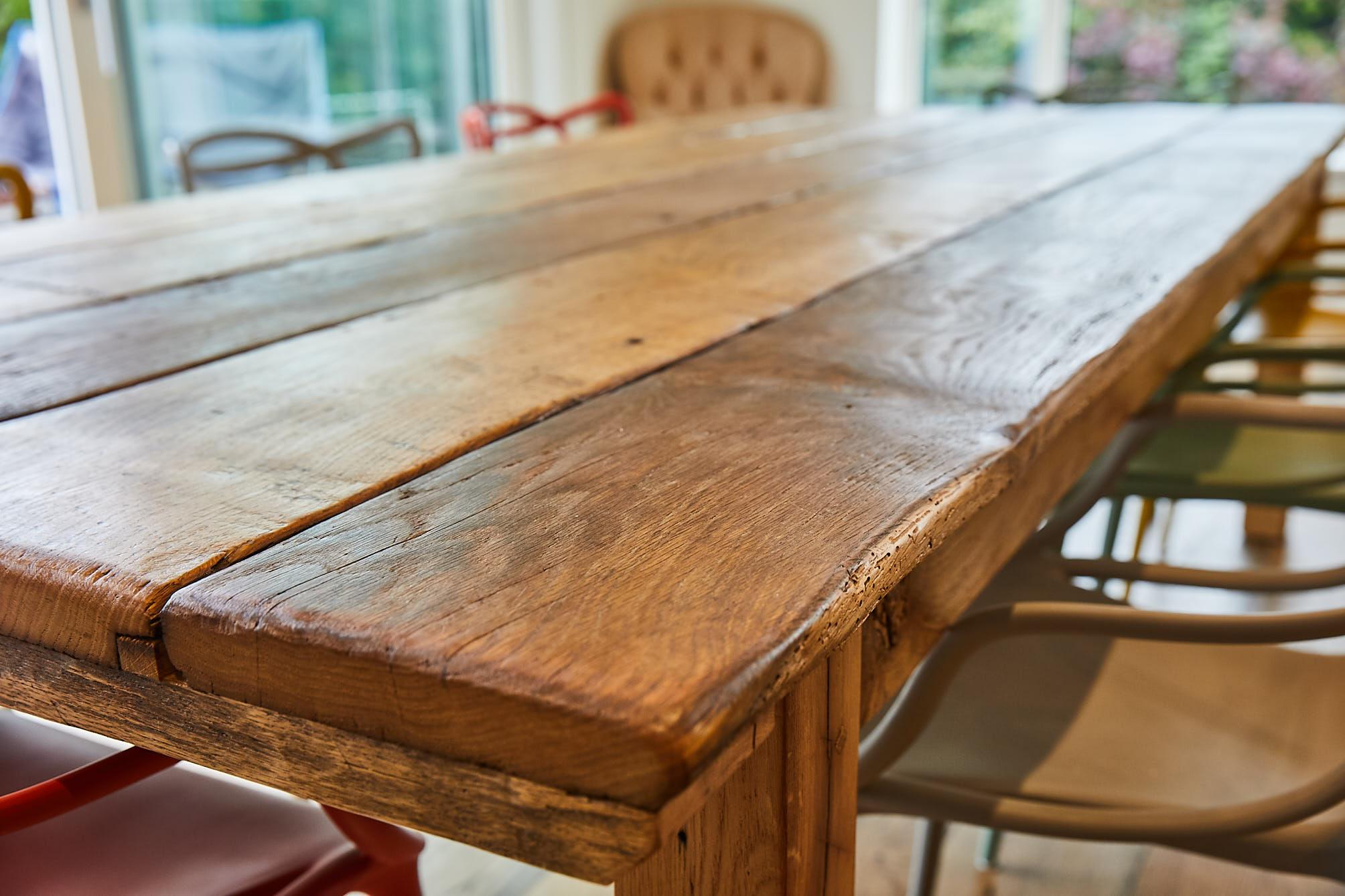 Rustic plank in reclaimed oak dining table