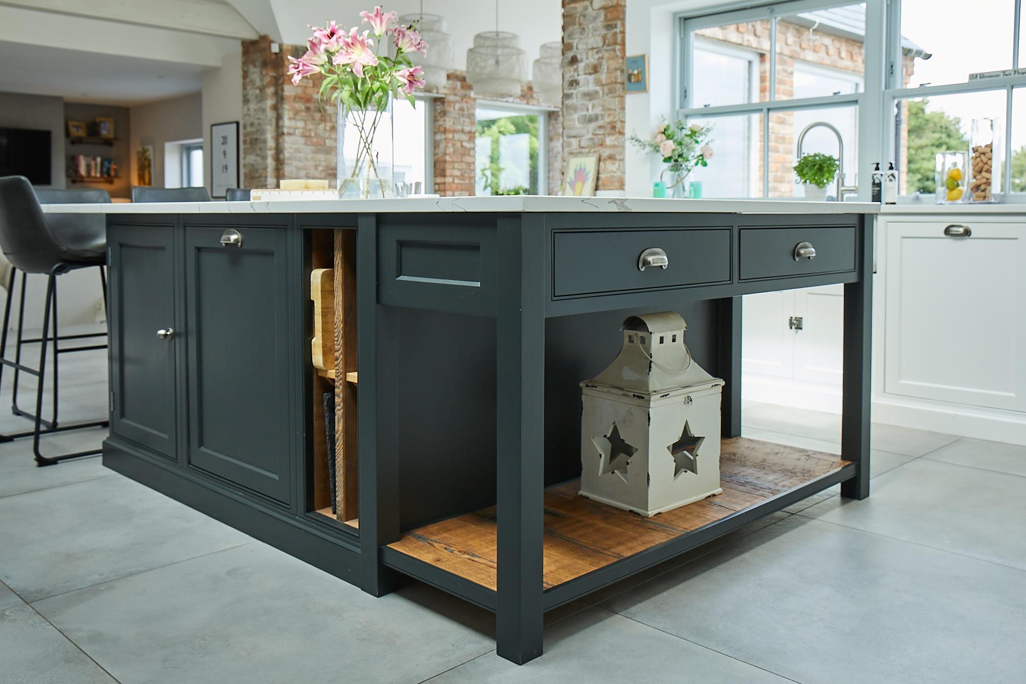 Open end on black pot board bespoke kitchen island