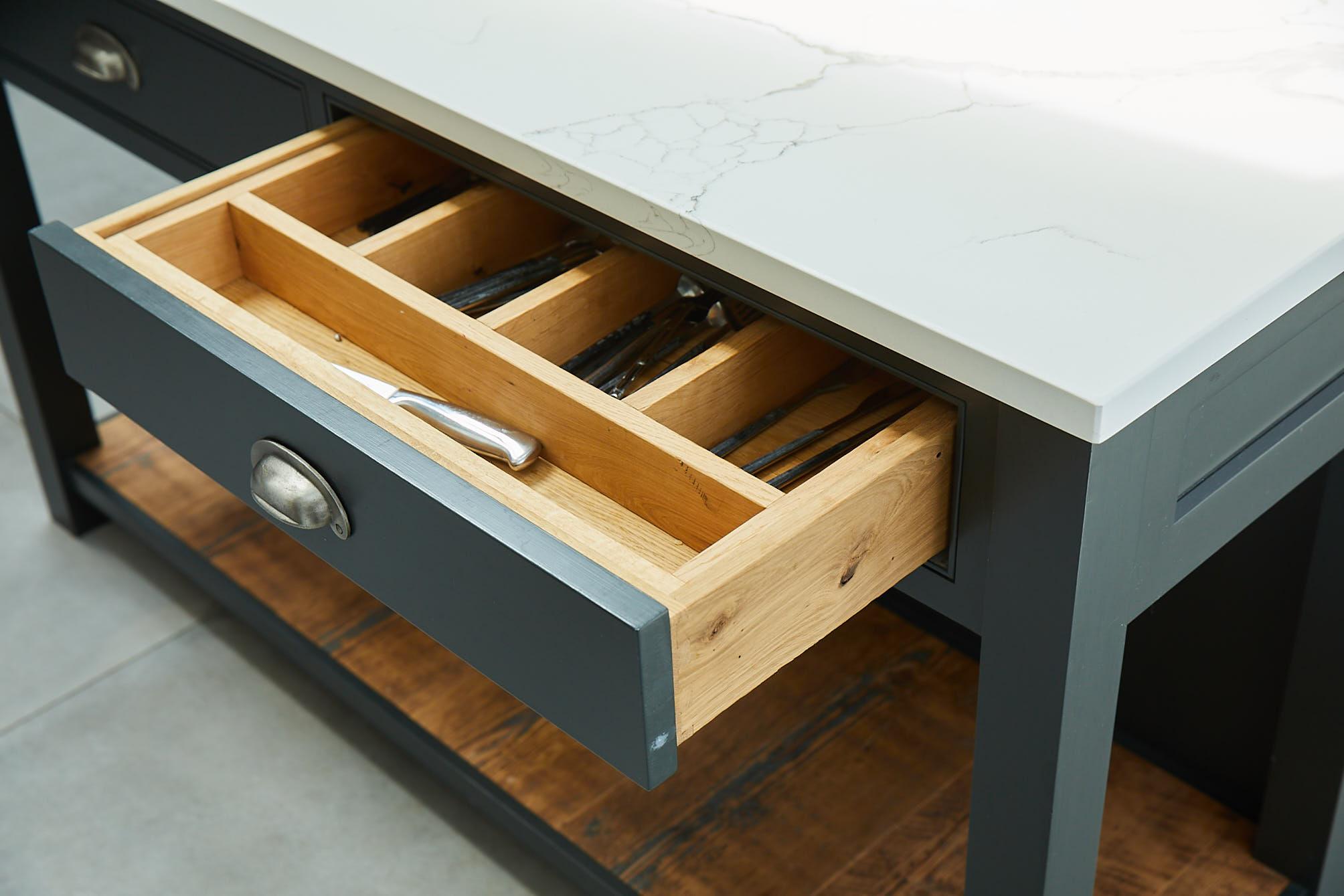 Solid oak cutlery insert in bespoke kitchen island