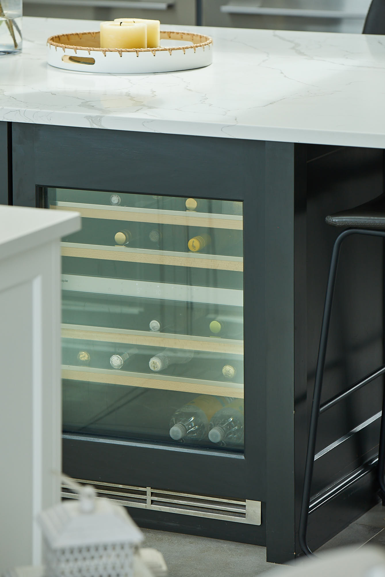 Integrated wine cooler in bespoke kitchen island