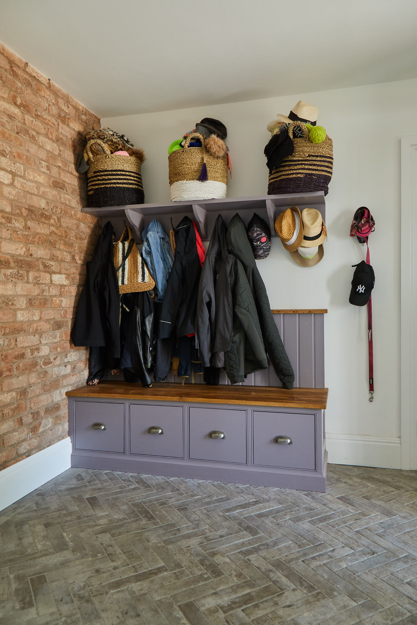 Purple boot room unit with rustic coat hanger