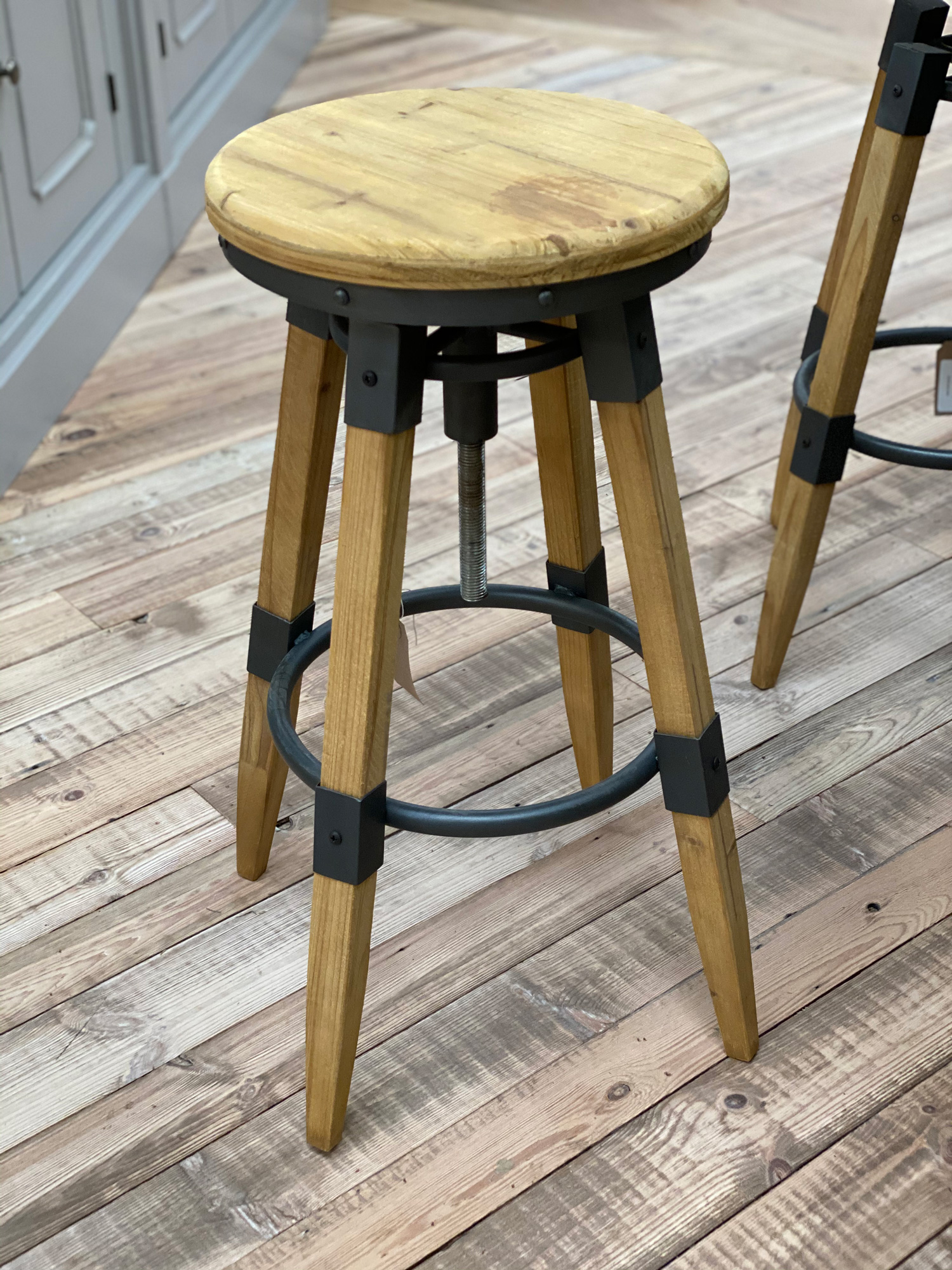 Industrial wood barstool