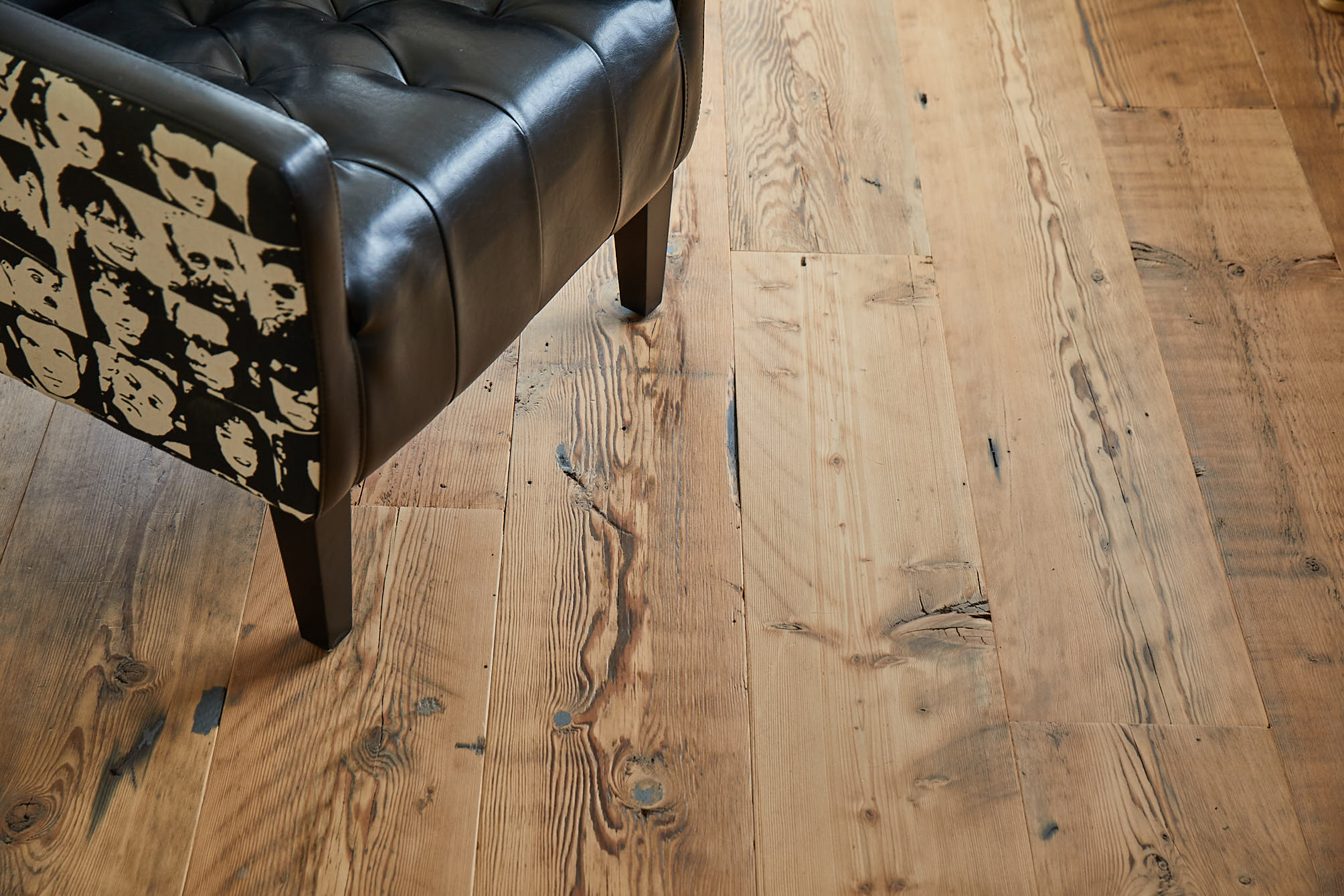 Reclaimed Engineered Flooring with black chair