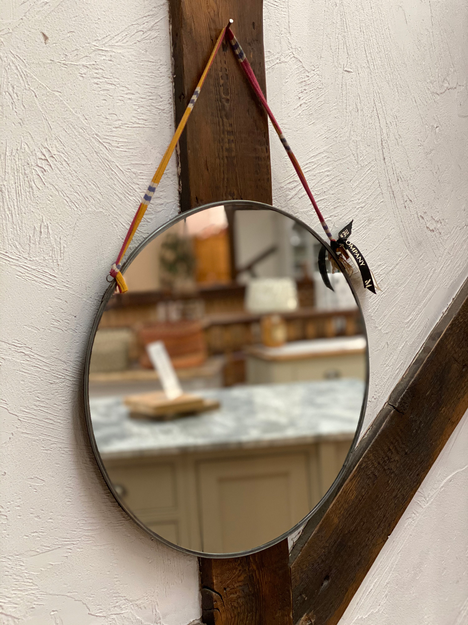 Round Mirror with ribbon hanger