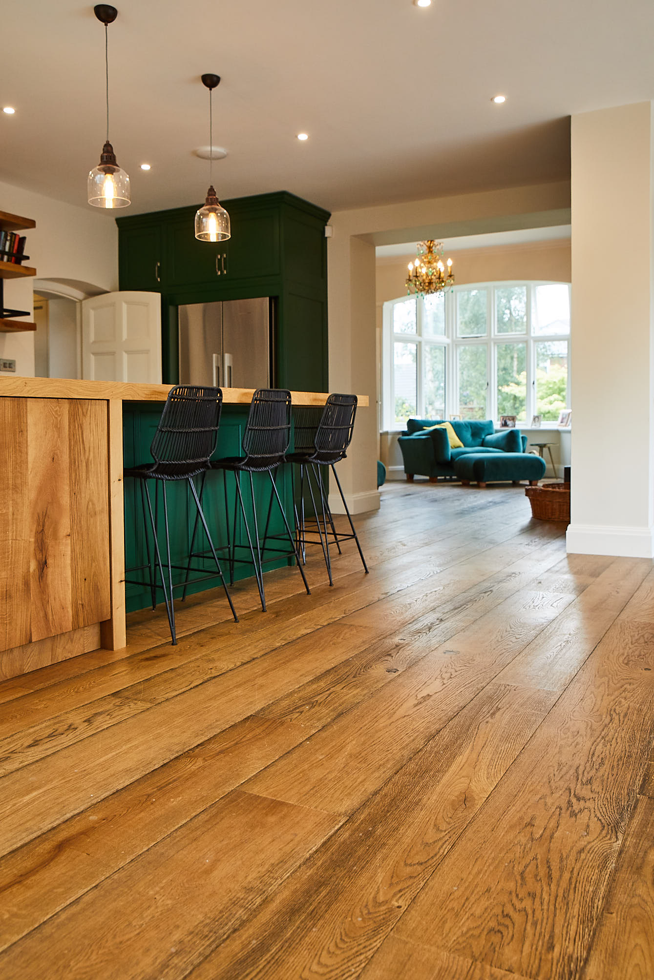 Warm oak flooring in kitchen