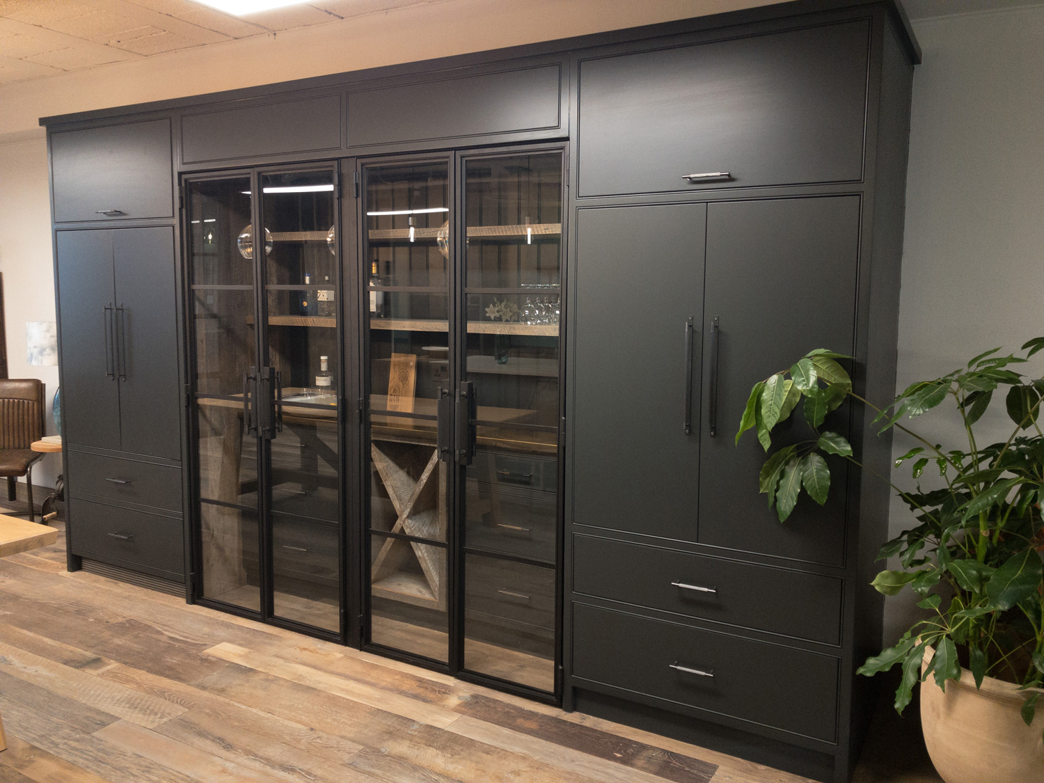 Bespoke black pantry with crittall style steel doors