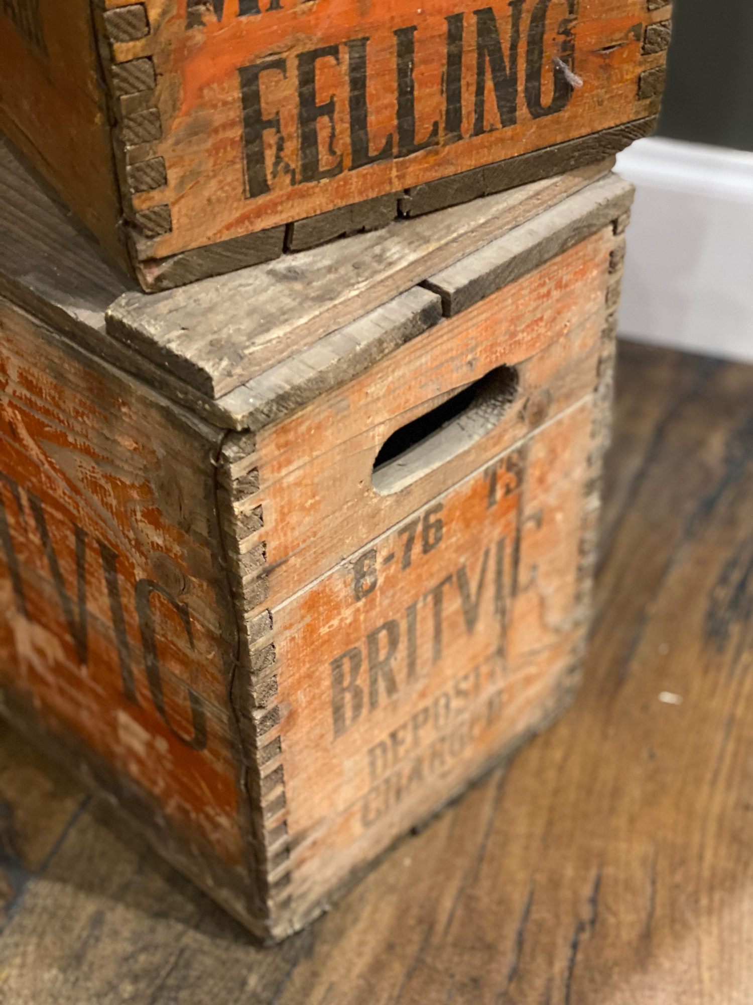 Hanle cutouts in reclaimed soda crate