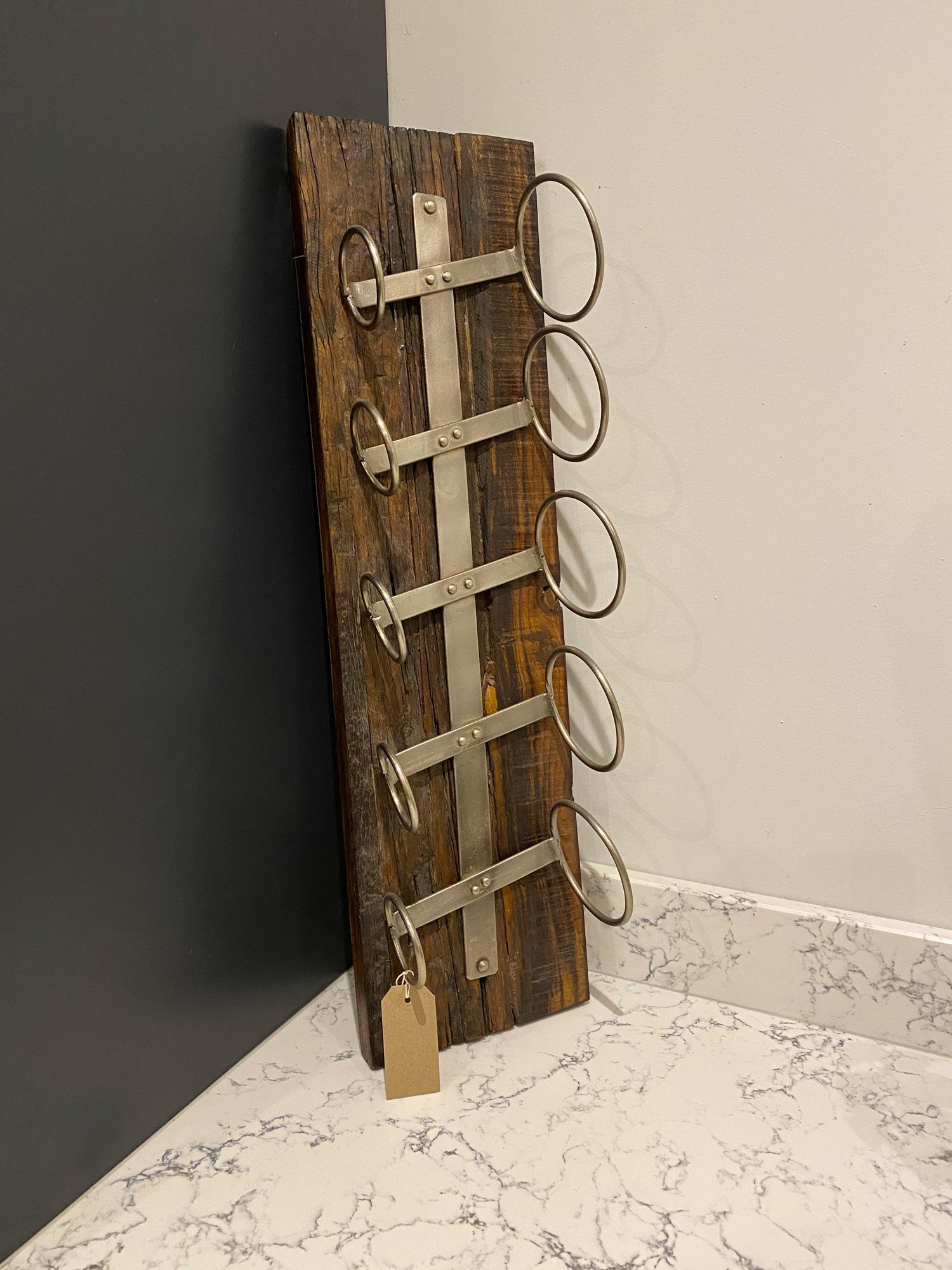Reclaimed oak wine bottle holder with metal hoops