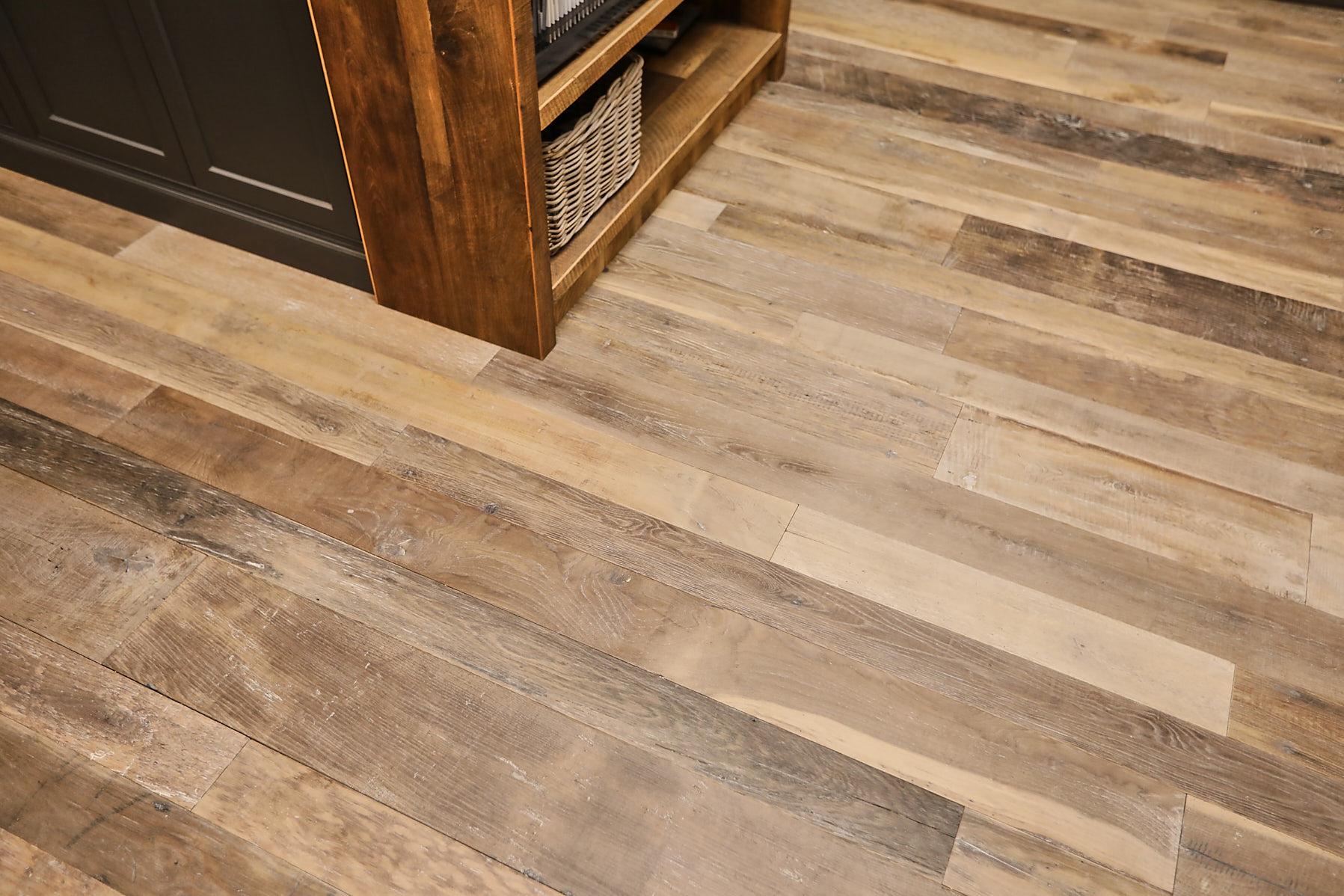 Random width reclaimed oak flooring