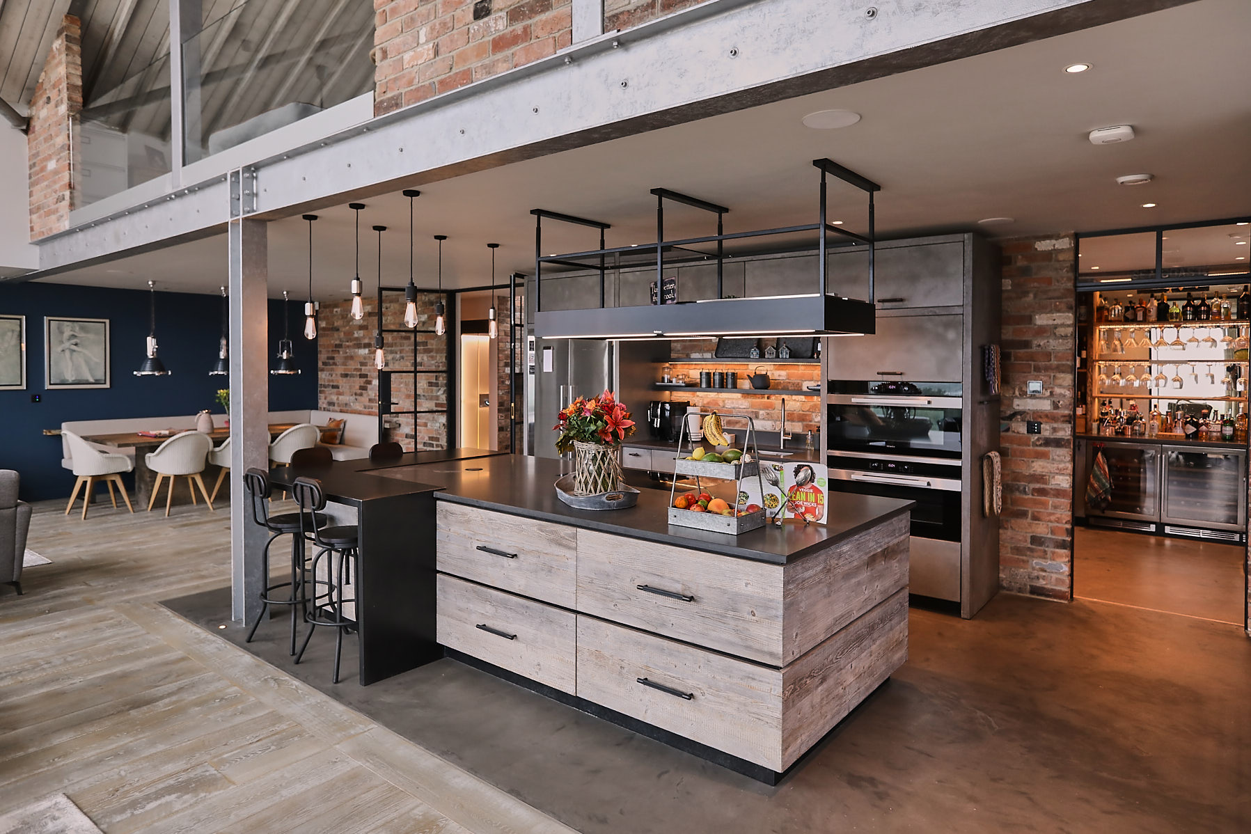 Reclaimed and concrete bespoke kitchen island