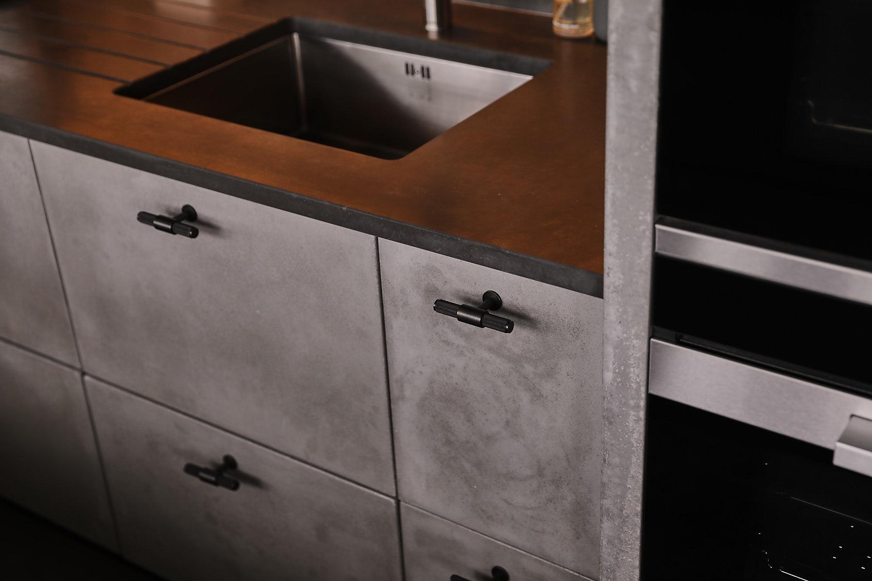 Solid concrete kitchen unit