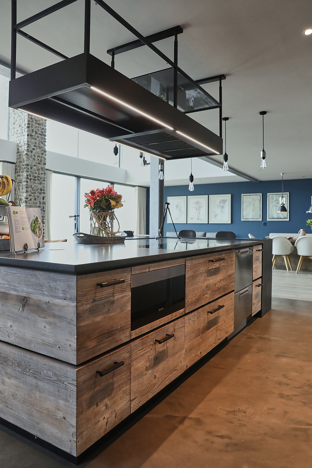 Rustic and reclaimed pine used on kitchen island