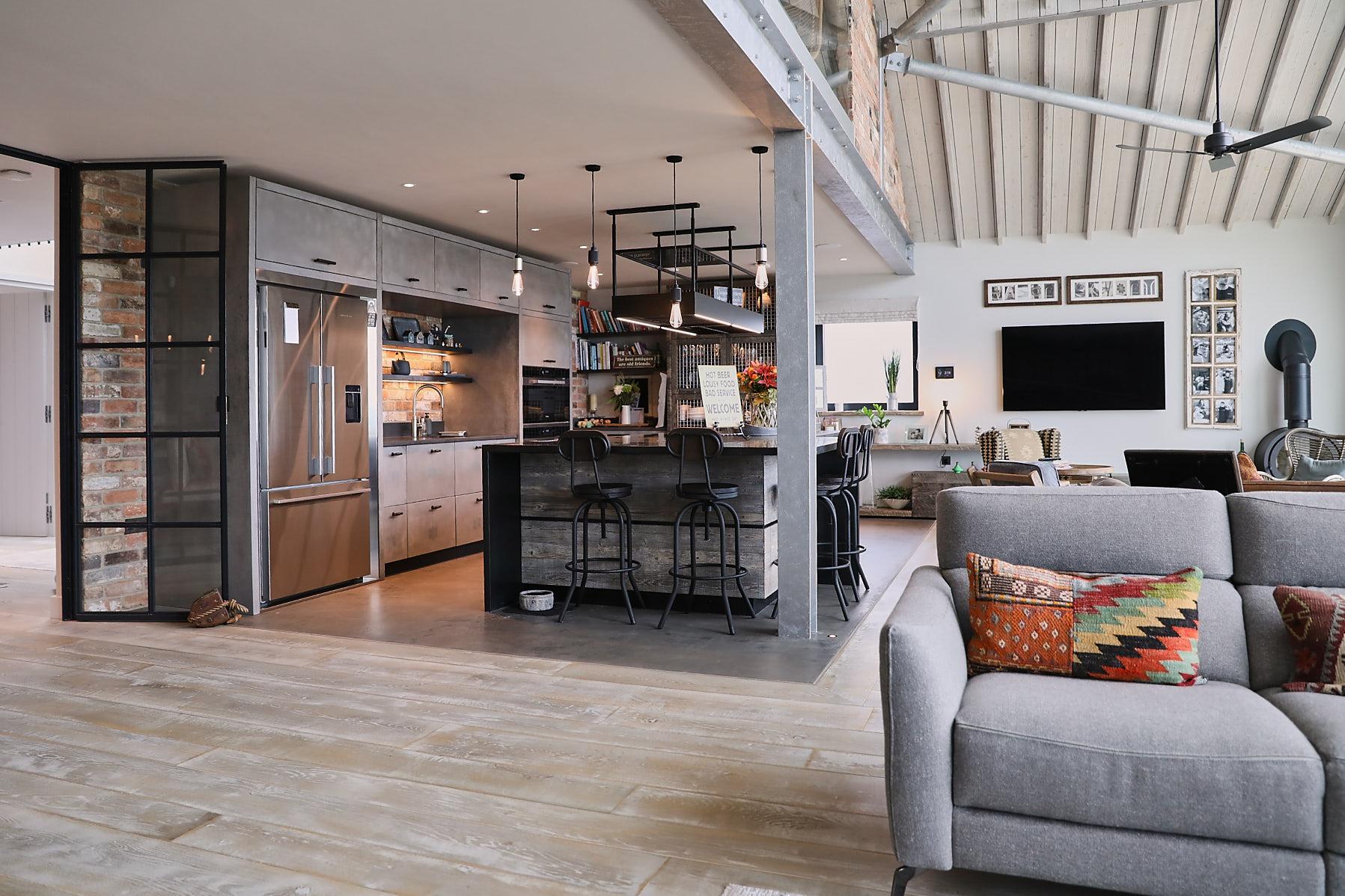 Open plan kitchen with concrete units