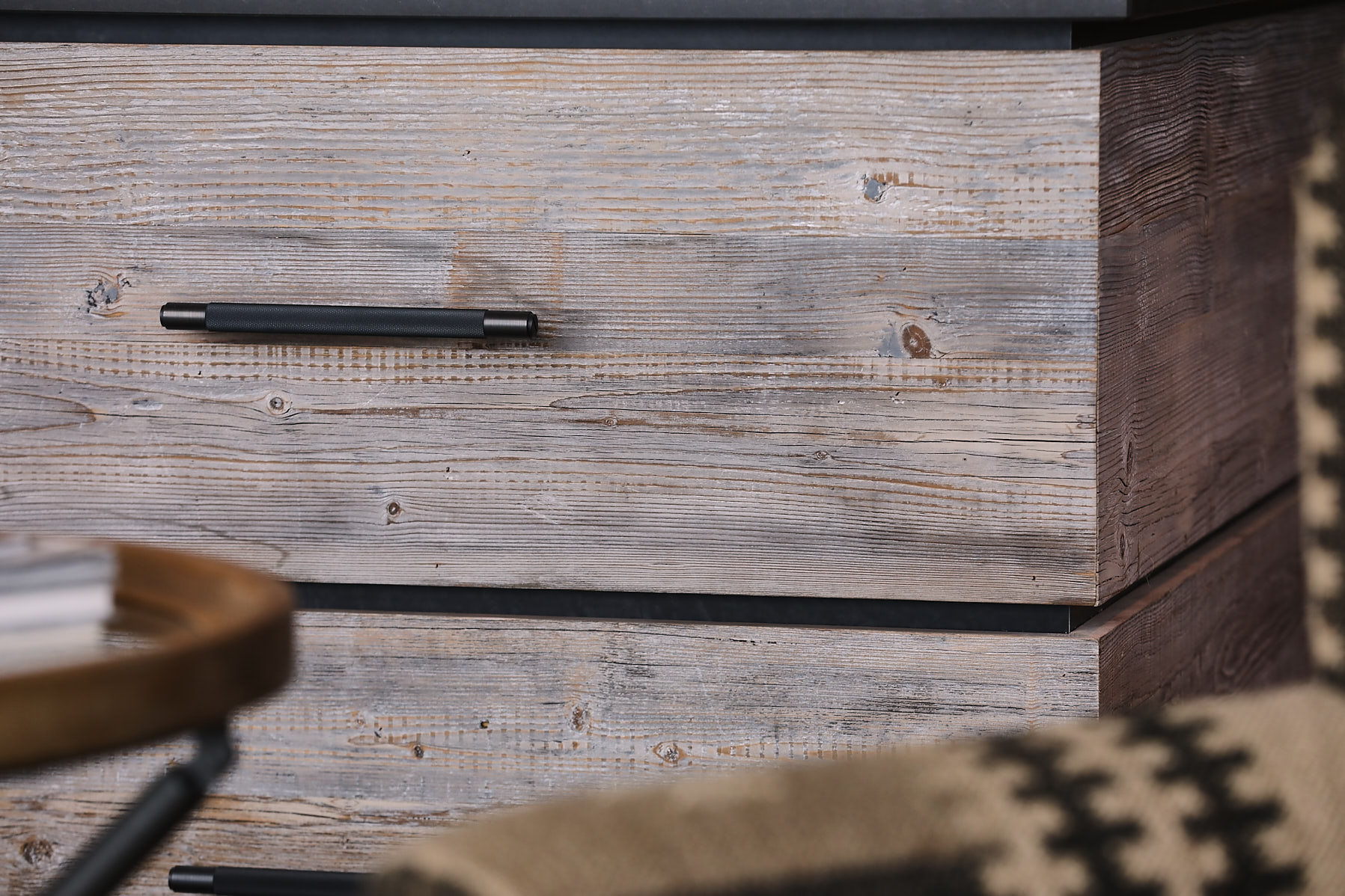 Reclaimed drawer front with Buster and Punch brass pull handle