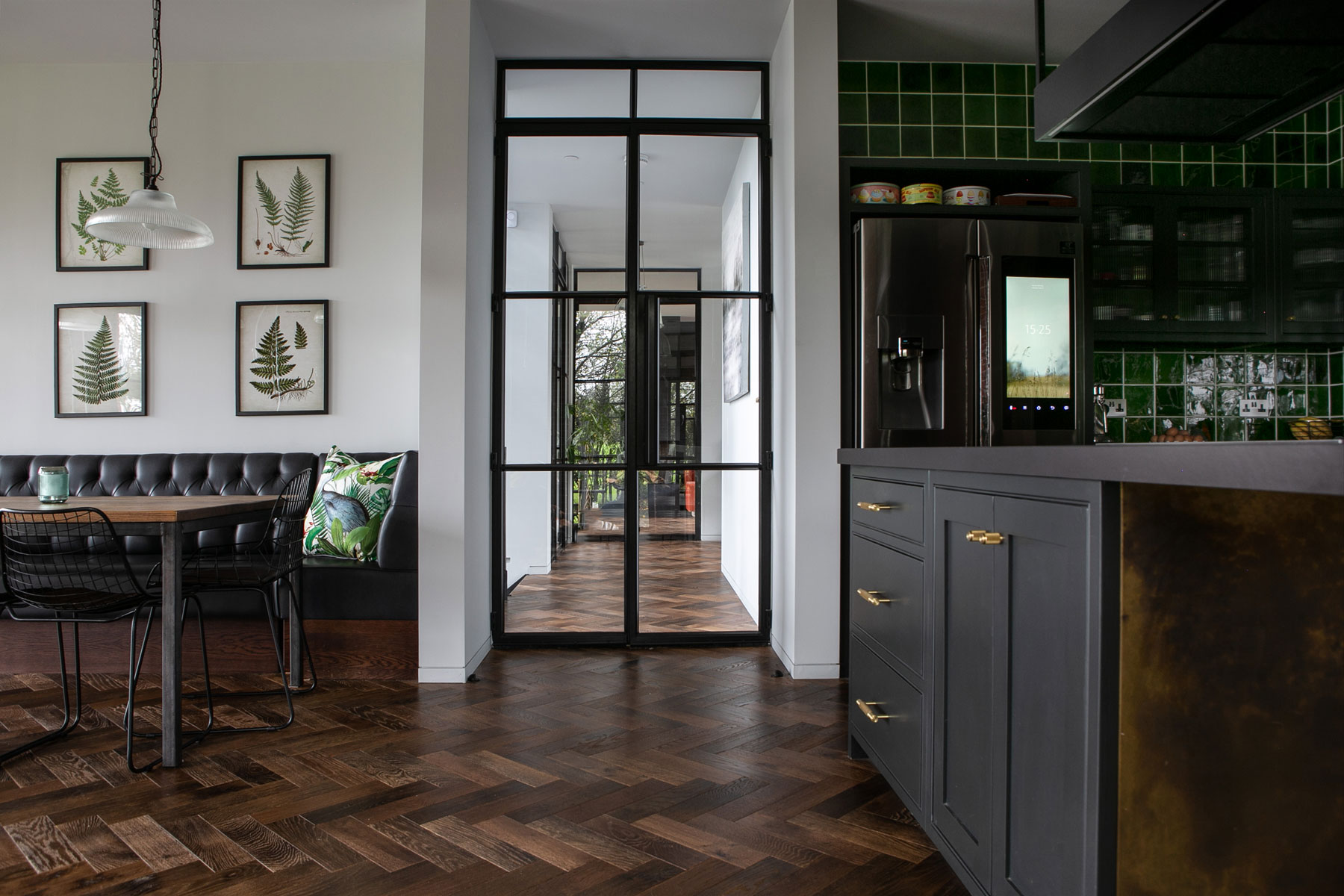 Crittall doors with parquet oak flooring