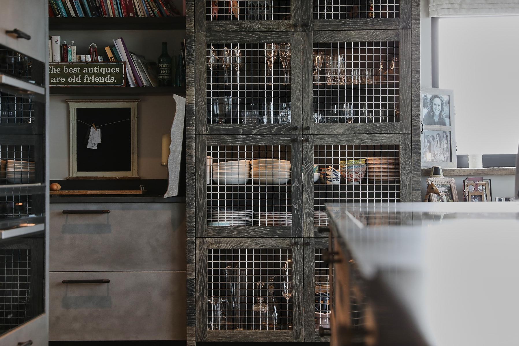 Oak and wire bespoke kitchen cabinet