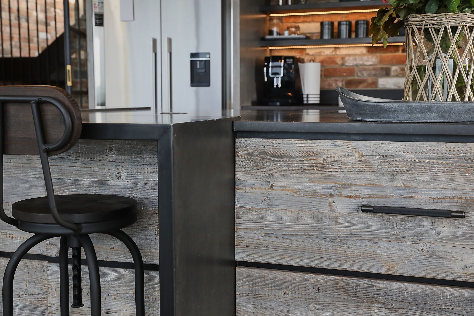 Zinc breakfast bar with reclaimed pine drawer fronts