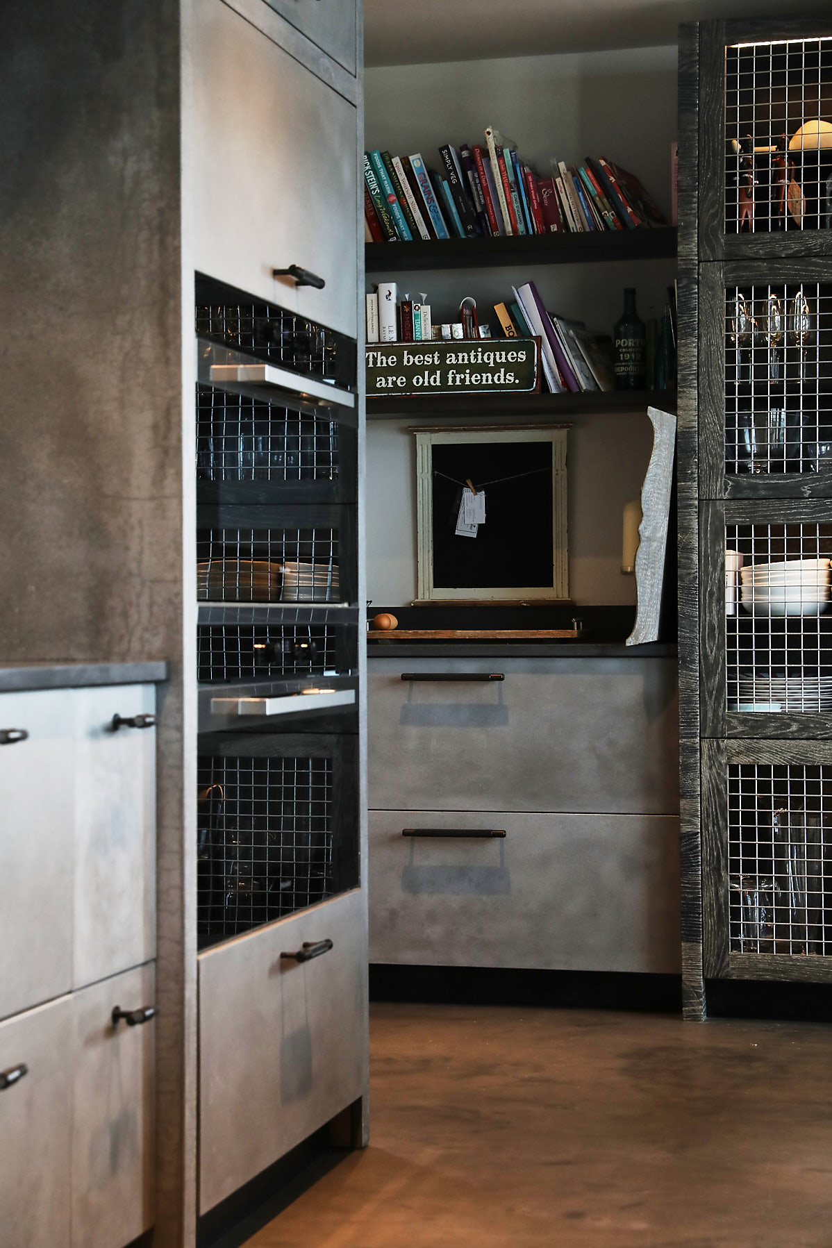 Solid concrete drawer fronts on bespoke kitchen