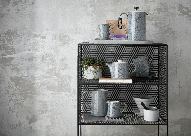 Deby ceramics on metal shelves