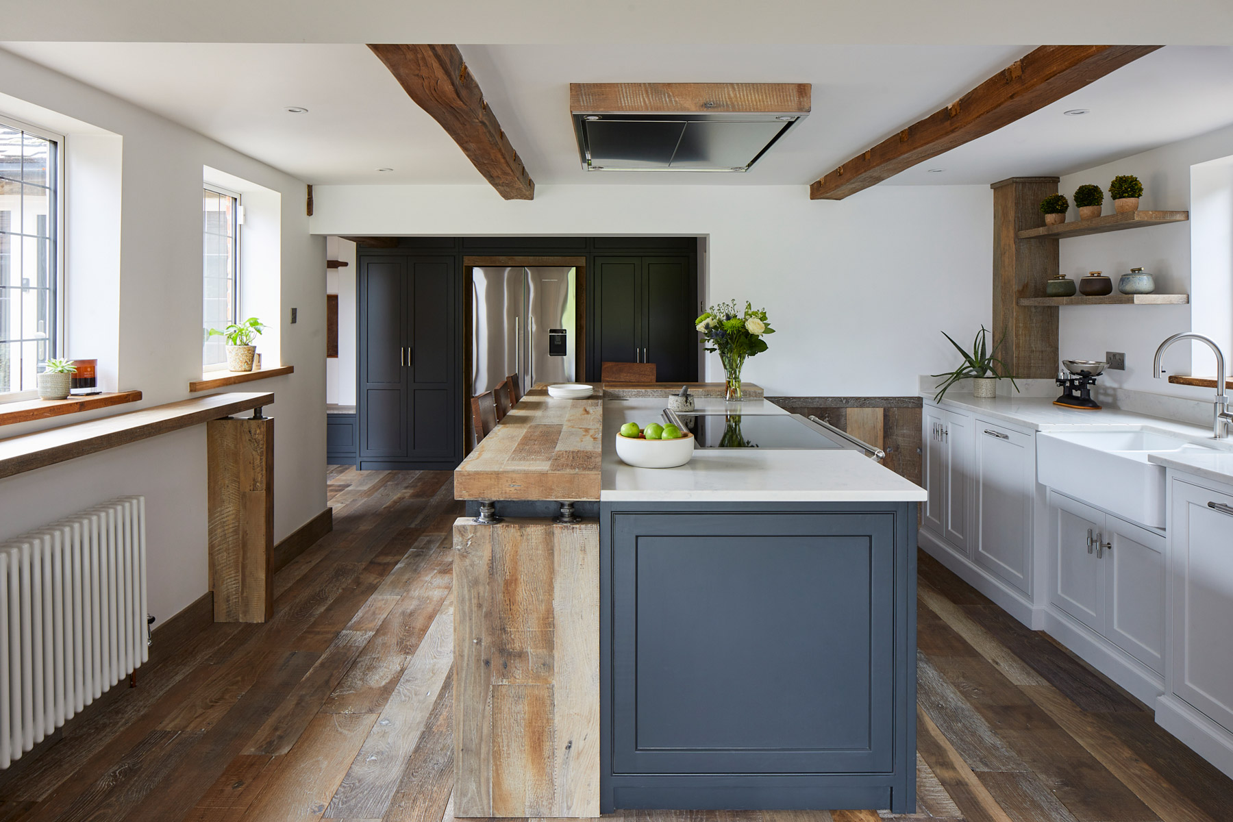Kitchen cabinets painted in Lamp Black by Little Greene