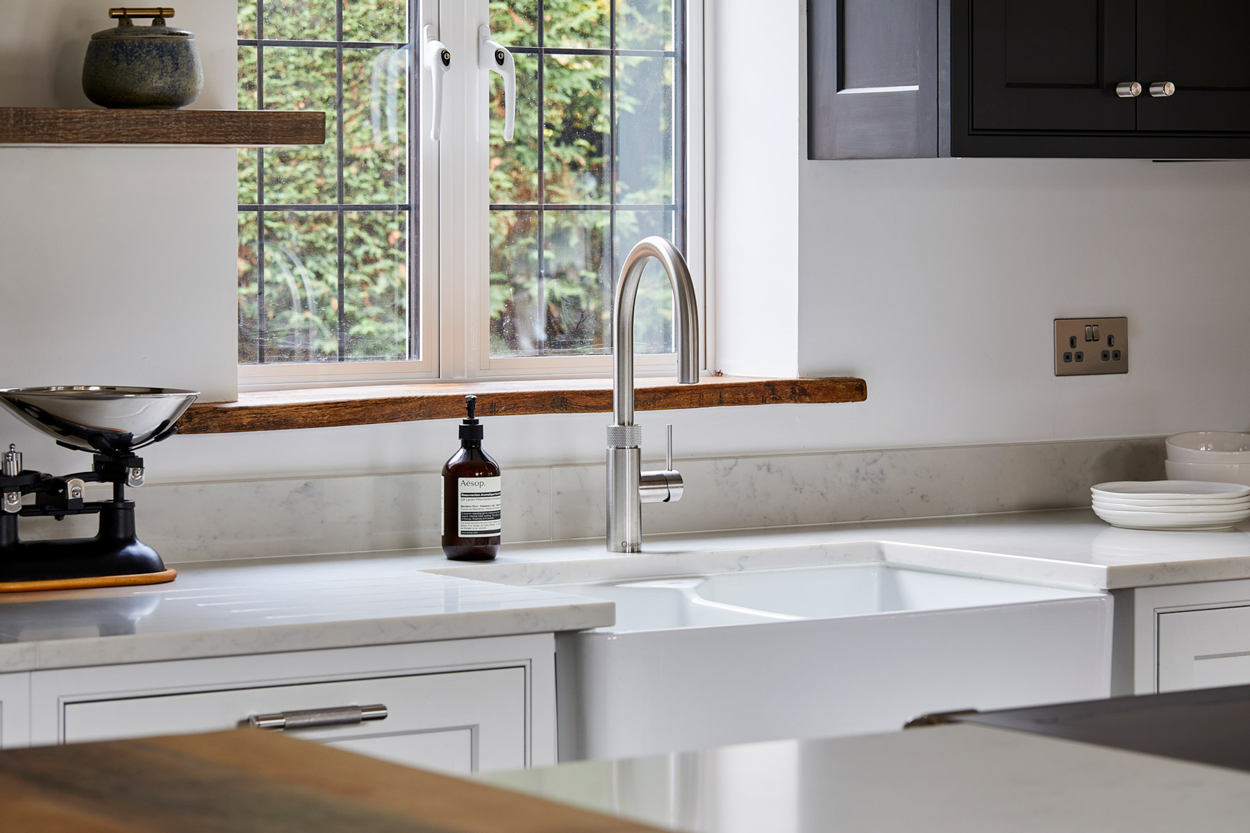Quooker boiling tap in painted bespoke kitchen