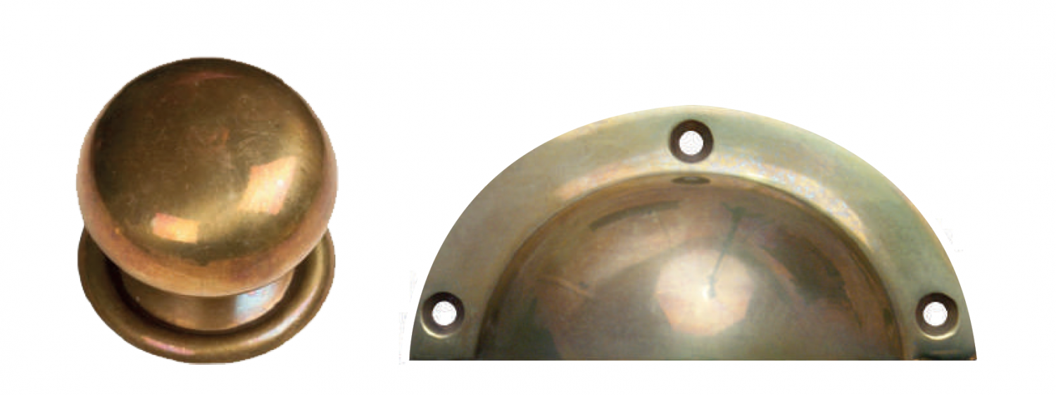 Burnt brass cup and knob kitchen handles