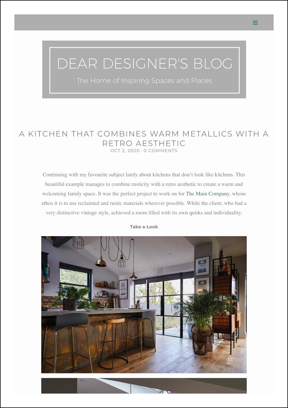 Dear Designer's Blog Post on The Main Company