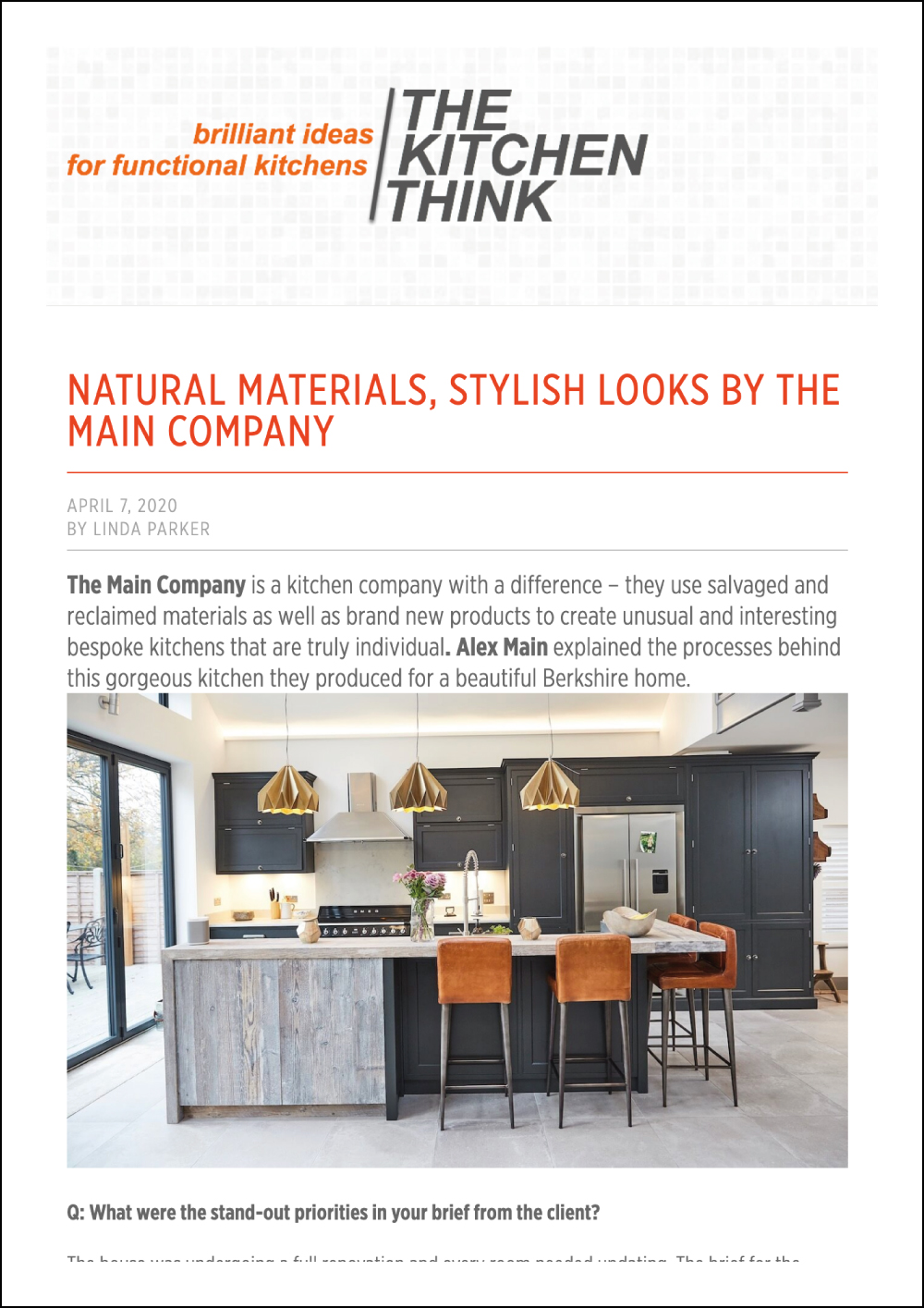 The Kitchen Think Online Article
