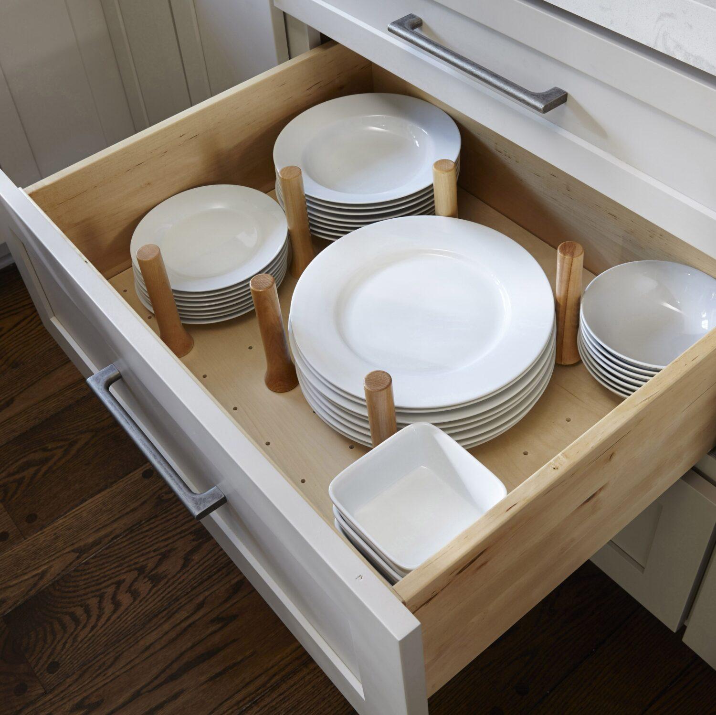 Wooden dowel drawer divide