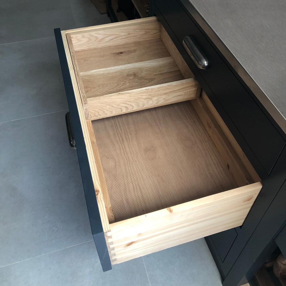 Drawer in drawer pan insert
