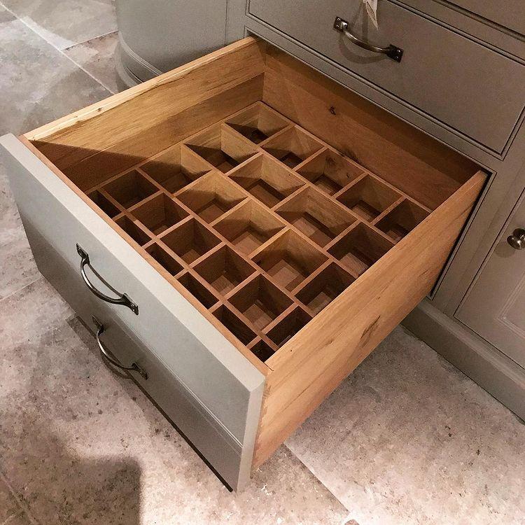 Oak oil bottle drawer divide