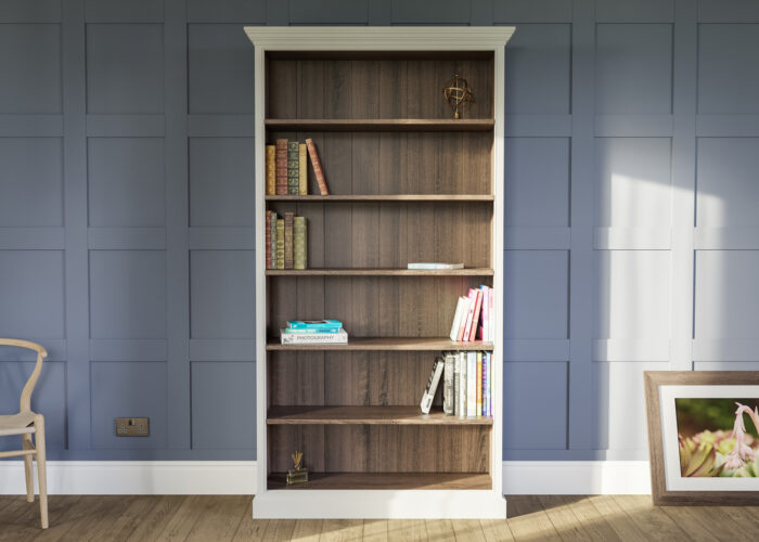 Traditional bookcase painted in Little Greene paint