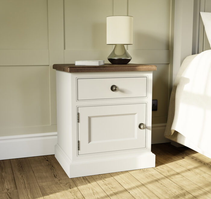 One door and one drawer painted bedside cabinet