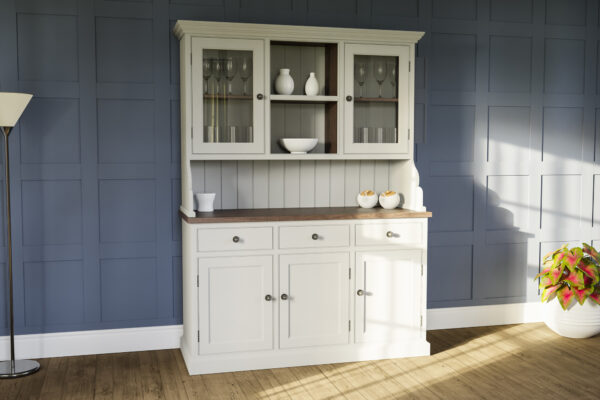 Traditional painted flower dresser with glazed cabinet doors