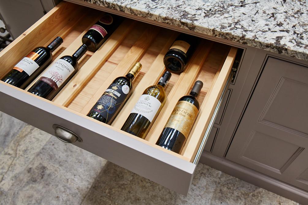 Wine bottle drawer insert