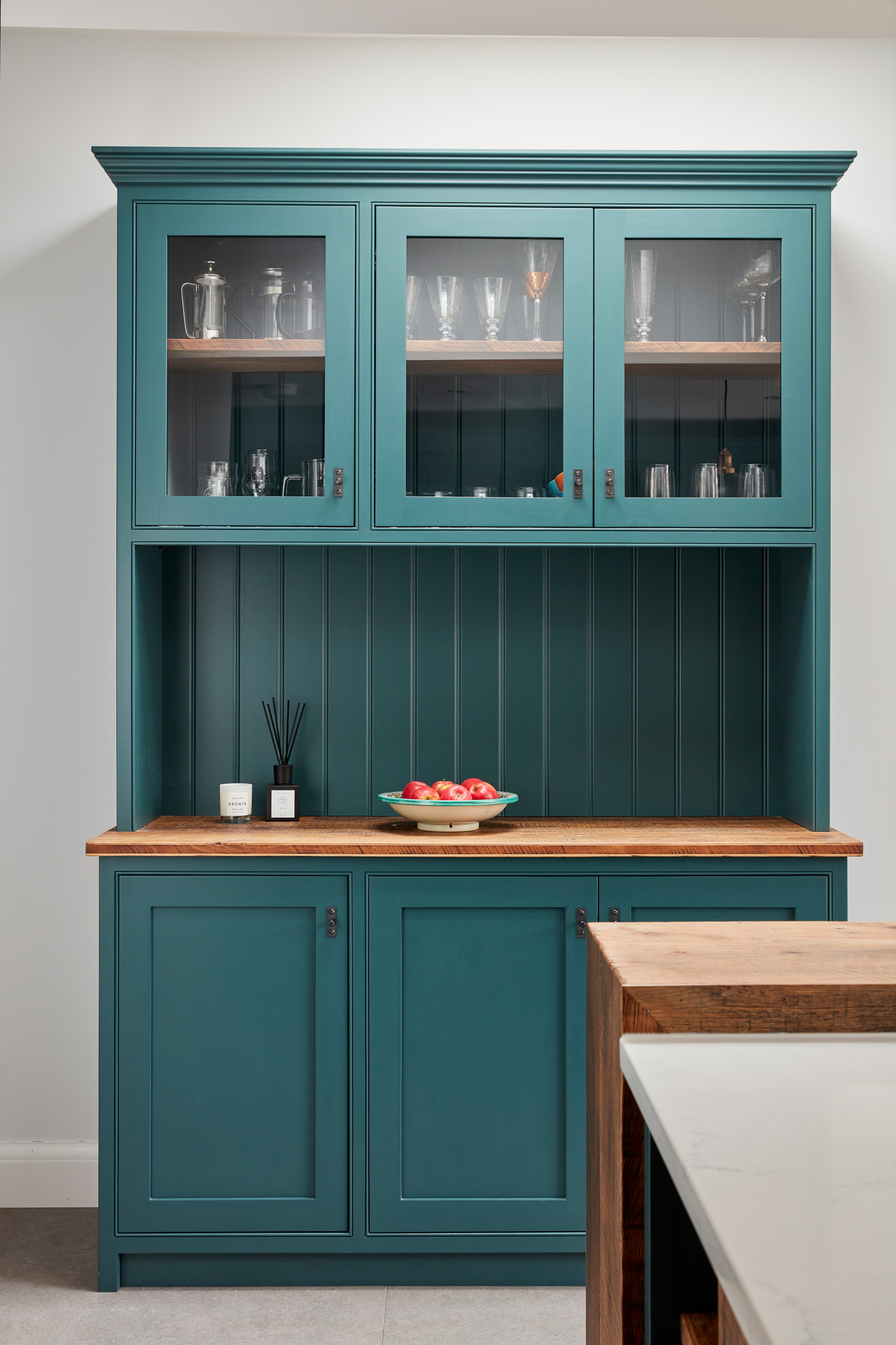 Teal Little Greene painted dresser with oak worktop