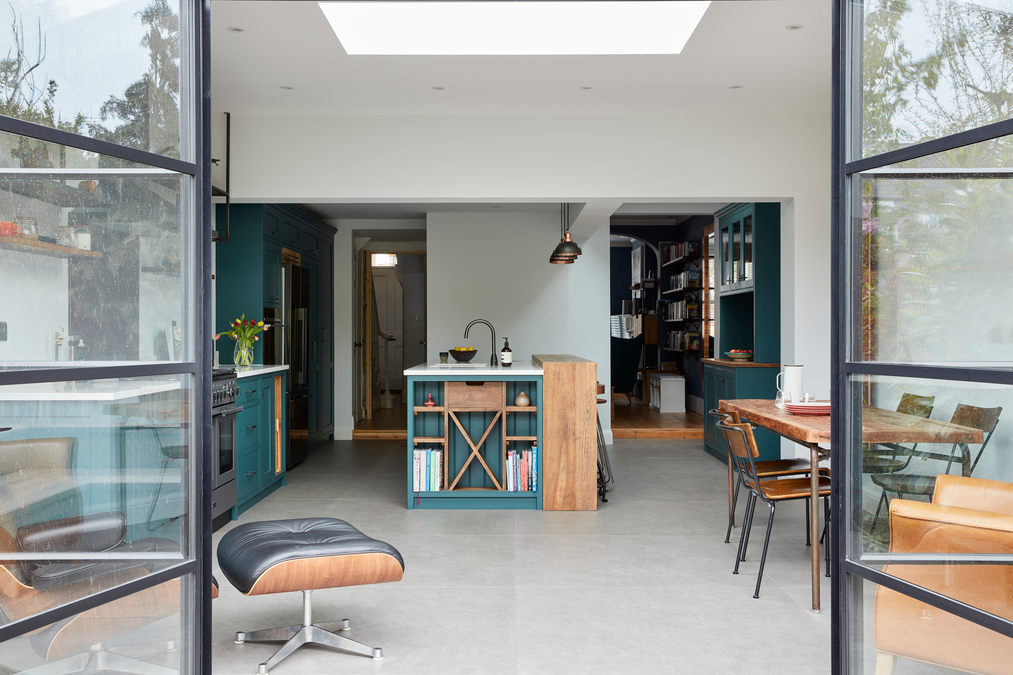 Crittall style doors with bespoke open plan industrial kitchen